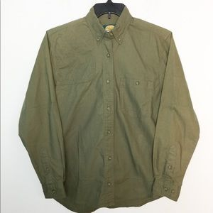Cabela's S Button Front Shirt Olive Green NWOT
